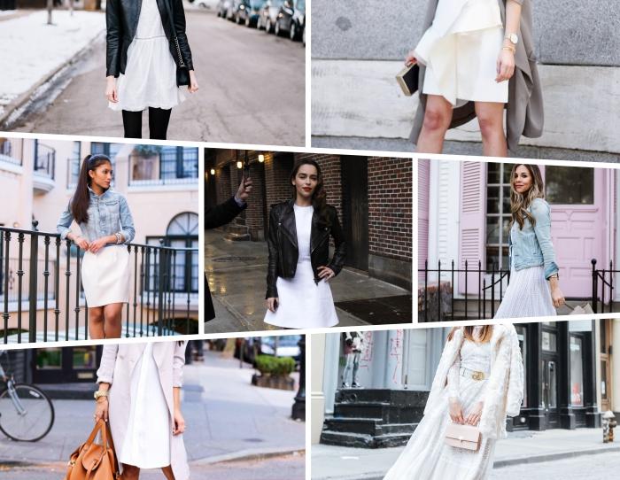 comment porter une veste en denim avec une robe habillée mi longue de couleur blanche, tenue blanc et noir pour femme