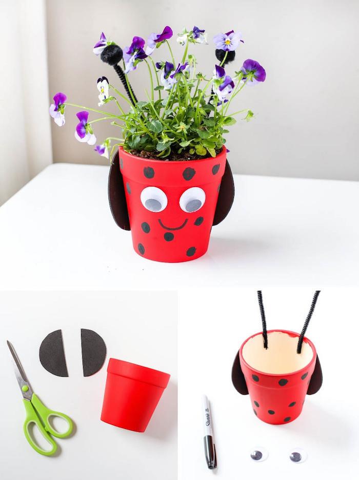 idee activité manuelle printemps maternelle avec motif coccinelle peint en peinture rouge et pois noirs, plante à l interieur, antennes en cure dent