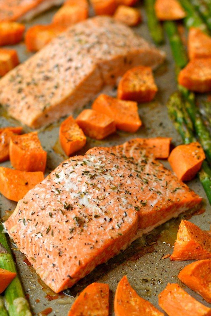 recette pavés de saumon aux épices et herbes fraiches avec des asperges, cubes de patate douce