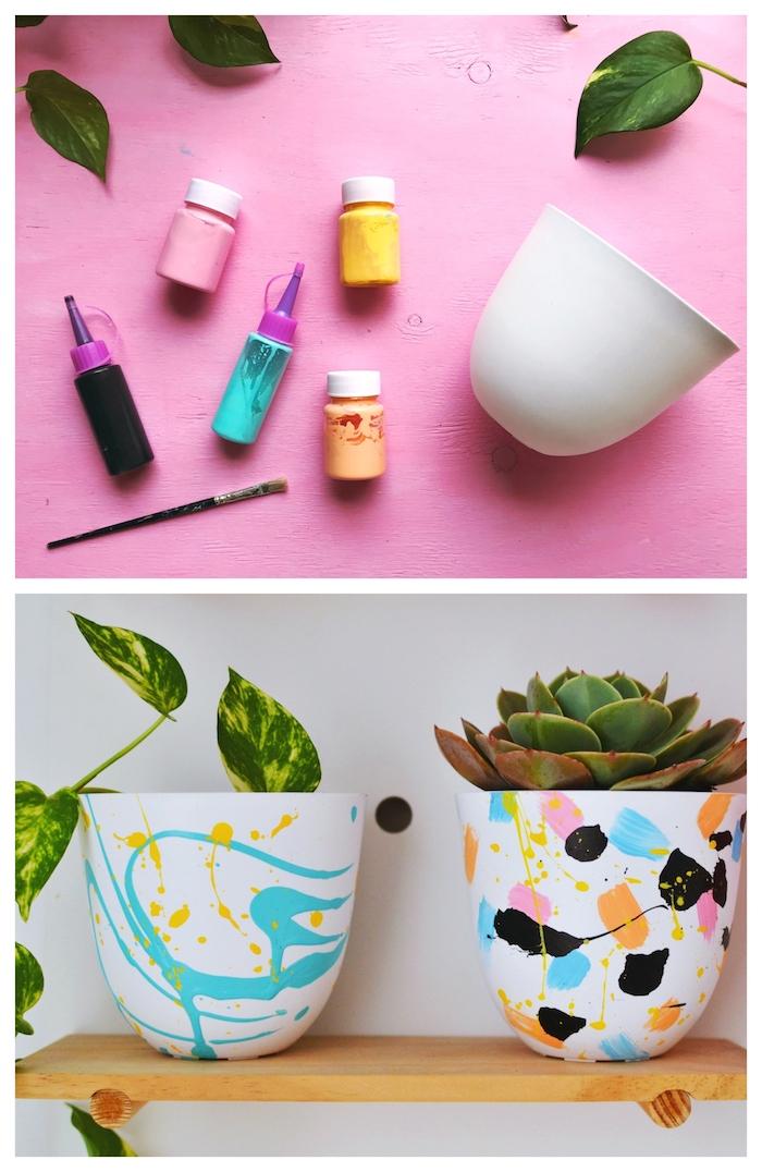 deco pot de fleur originale avec des touches de peinture abstrait acrylique, idée activité créative adulte