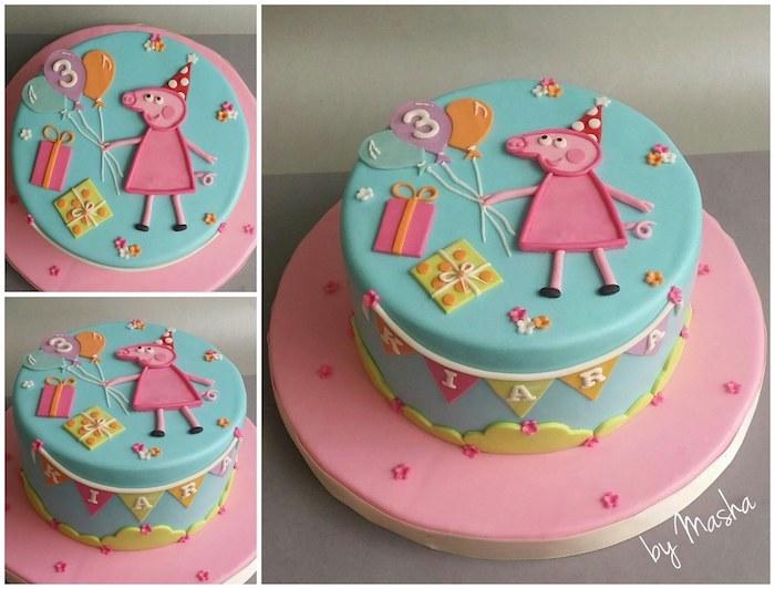 Gateau bleu avec dessin rose peppa pig et ses cadeaux, gateau anniversaire fille thématique de dessin animé peppa cochon