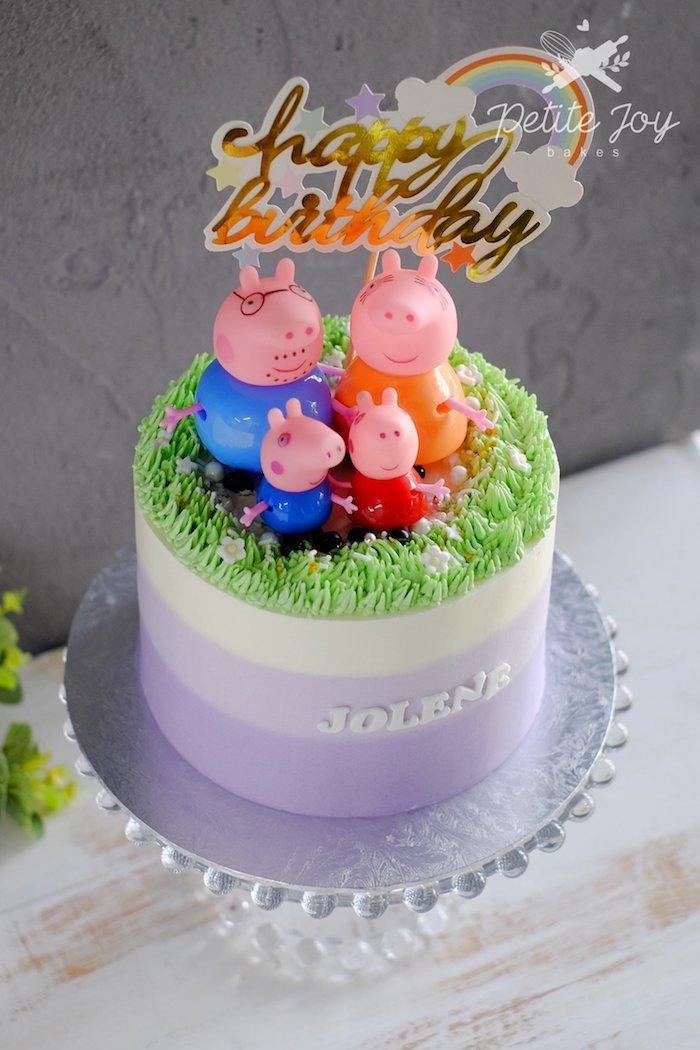 Pastel gateau en ombre, image gateau anniversaire, gâteau peppa pig en ganache famille