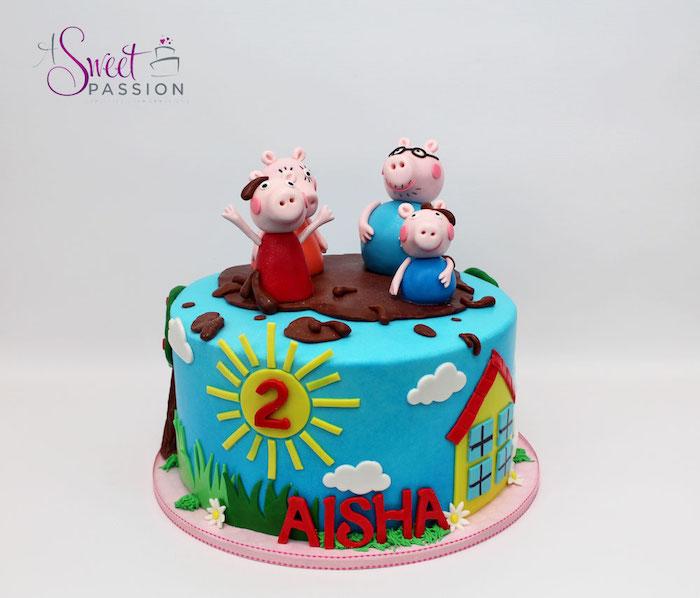 La famille Pig figurines gateau anniversaire 3 ans en couches chocolat gâteau peppa pig adorable