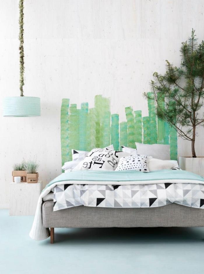 comment décorer une chambre enfant moderne en blanc et gris avec accents verts, exemple de tete de lit moderne