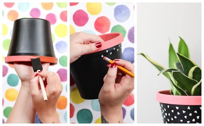 peinture ardoise deco sur pot de fleur avec de petits triangles blancs faits en gomme de crayon, activité manuelle adulte