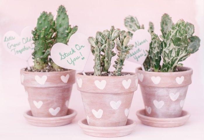 comment patiner un pot de fleur de patine blanche peinture et des coeurs dessinés en peinture blanche, idee cadeau saint valentin originale