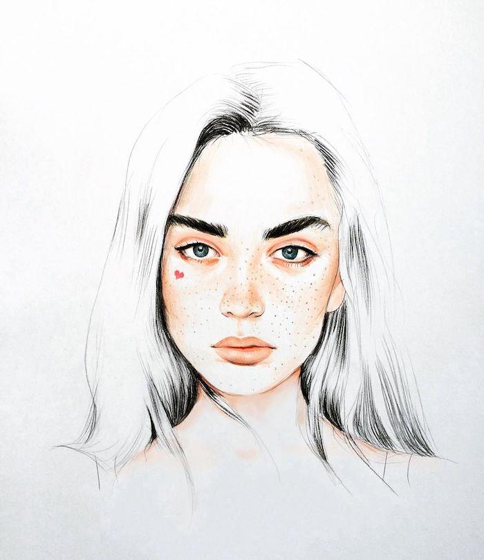 apprendre a dessiner un visage en couleur, des yeux vert de gris, sourcils noirs, contours lèvres et joues couleur peau, cheveux noir et blanc