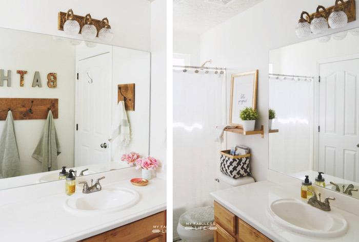 Grand miroir, déco écriteau bath qui signifie salle de bain, tendance deco salle de bain à la mode