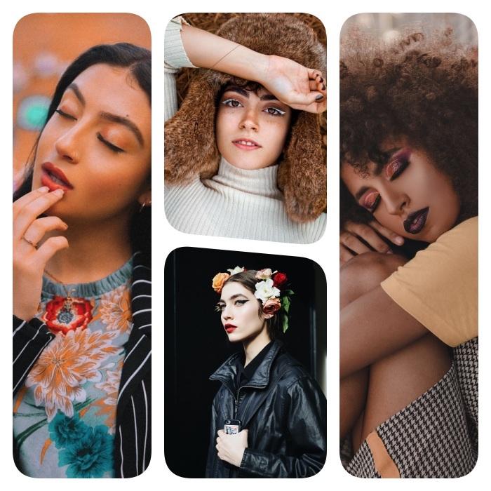 idee tendance maquillage 2020, blush, rouge à lèvres rouge, eye liner coloré, cils accentués