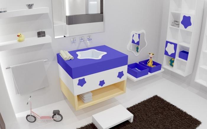 inspiration salle de bain blanche avec meubles modernes et accents en violet, modèle de tapis anti-dérapant