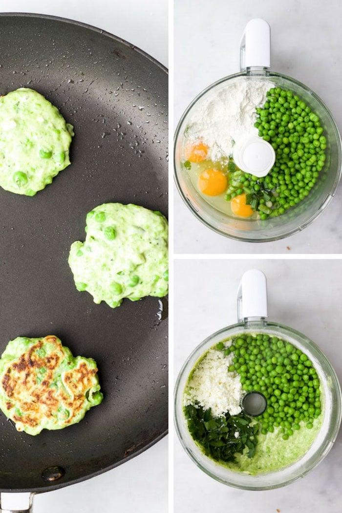 beignets de petits pois, oeufs, farine et autre légume, idee repas midi rapide a faire soi meme, recette simple de tous les jours