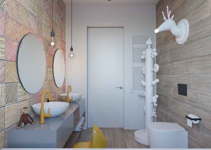 design intérieur moderne dans une salle d'eau aux murs en carrelage aspect bois, pinterest salle de bain petit espace