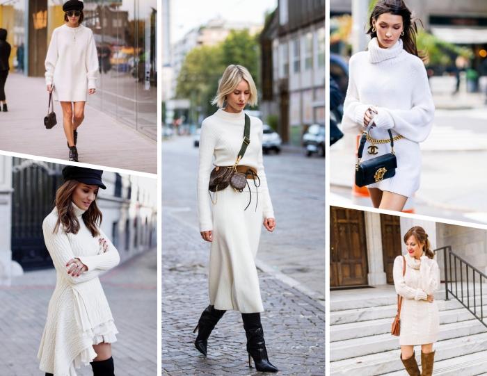 avec quelles chaussures assortir une robe longue blanche en hiver, modèle de robe col montant coupe asymétrique avec cuissardes noires