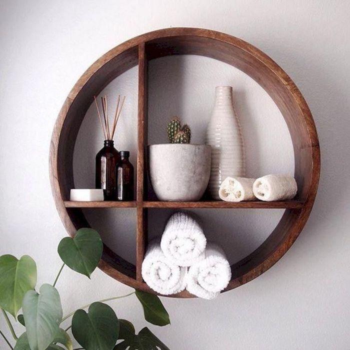Cercle en bois étagère decoration murale moderne, stickers salle de bain contemporaine, plante verte