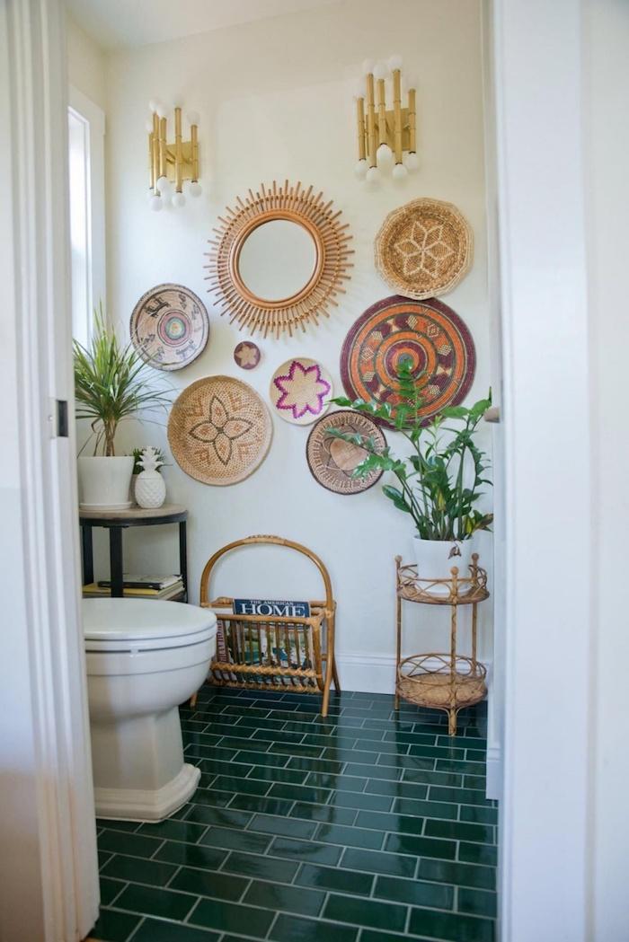 Rotin peintures originales, idée deco murale pour la salle de bain carrelage, salle de bain deco inspiration