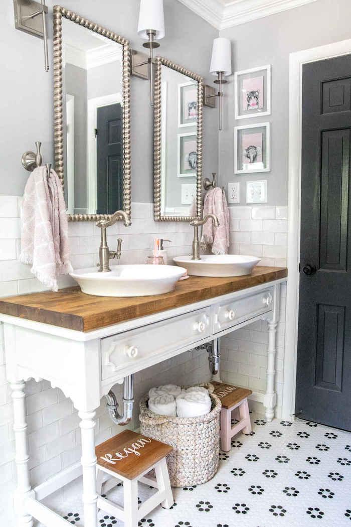 Meuble lavabo double au style vontage, idee deco salle de bain, stickers carrelage salle de bain