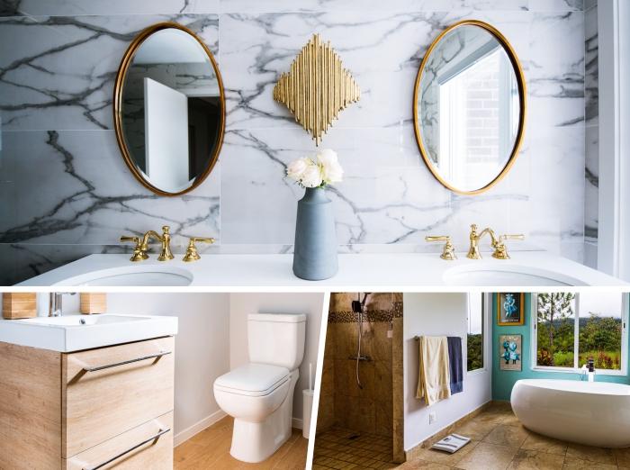 comment décorer une salle de bain moderne en marbre et or, idée revêtement mural pour salle de bain en carrelage tendance