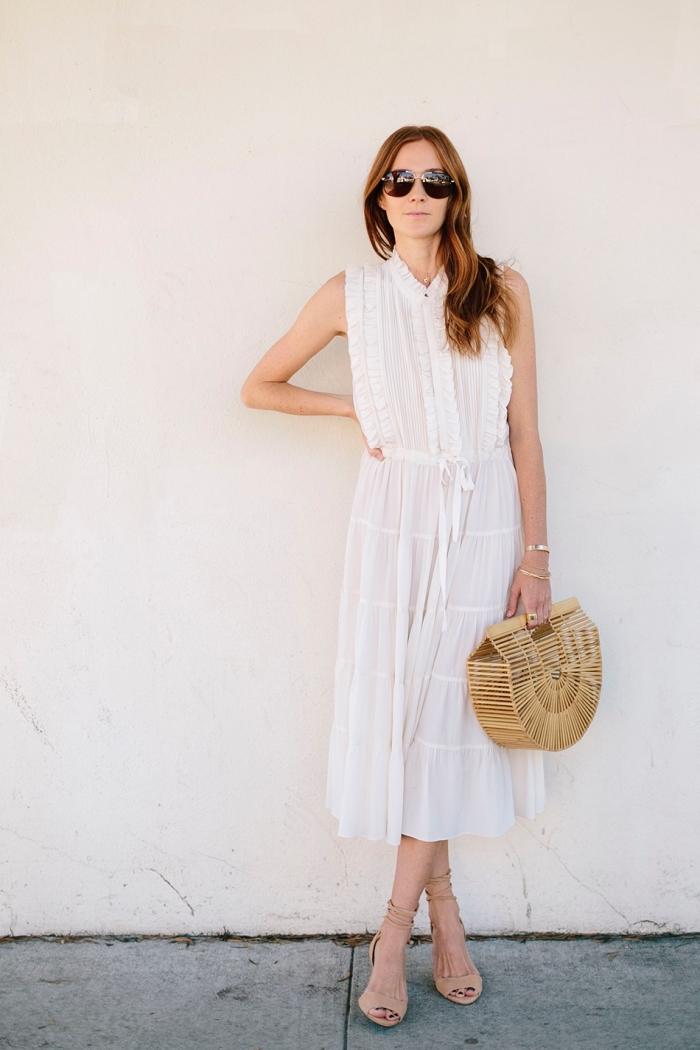 comment bien s'habiller en robe légère été, tenue femme chic en robe longue transparente avec chaussures hautes