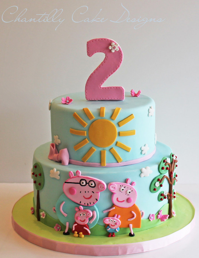 Gateau en pâte à sucre conception peppa pig anniversaire 2 ans, gâteau peppa pig, gateau de couches inspiration image