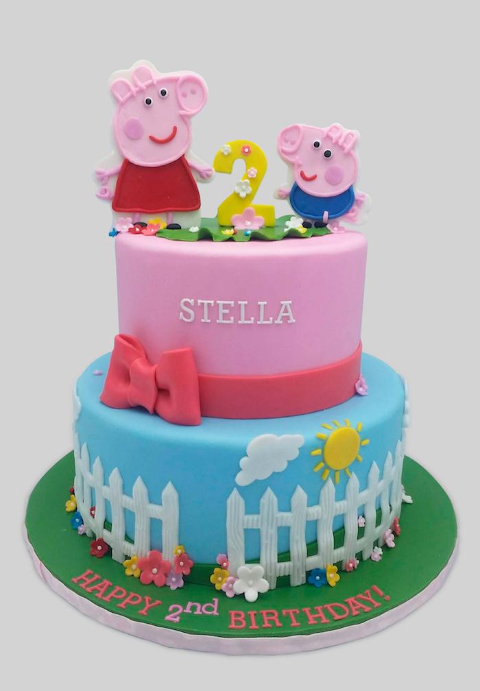Superbe idée comment décorer le gâteau d'anniversaire de son enfant 2 ans, gateau anniversaire peppa pig, idée gateau de couches