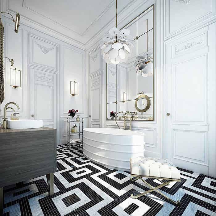 Noir et blanc mosaique carrelage, inspiration salle de bain tendance, simple déco pour renouveler la salle de bain et la faire stylée