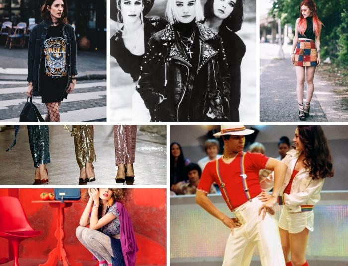 mode année 70 disco, modèles de pantalons disco à sequins colorés combinés avec chaussures à talons hauts