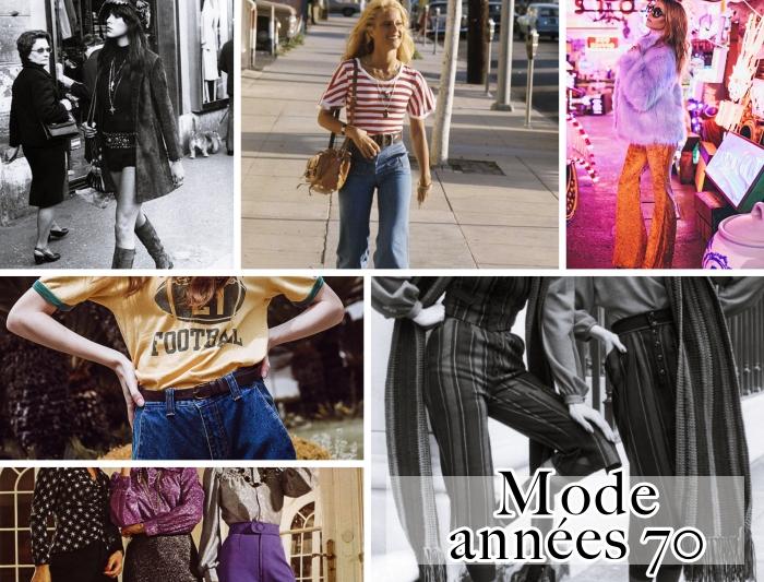 tenue des années 70 mode pour femme, look disco en pantalon à patte d'éléphant orange et manteau en fausse fourrure violet