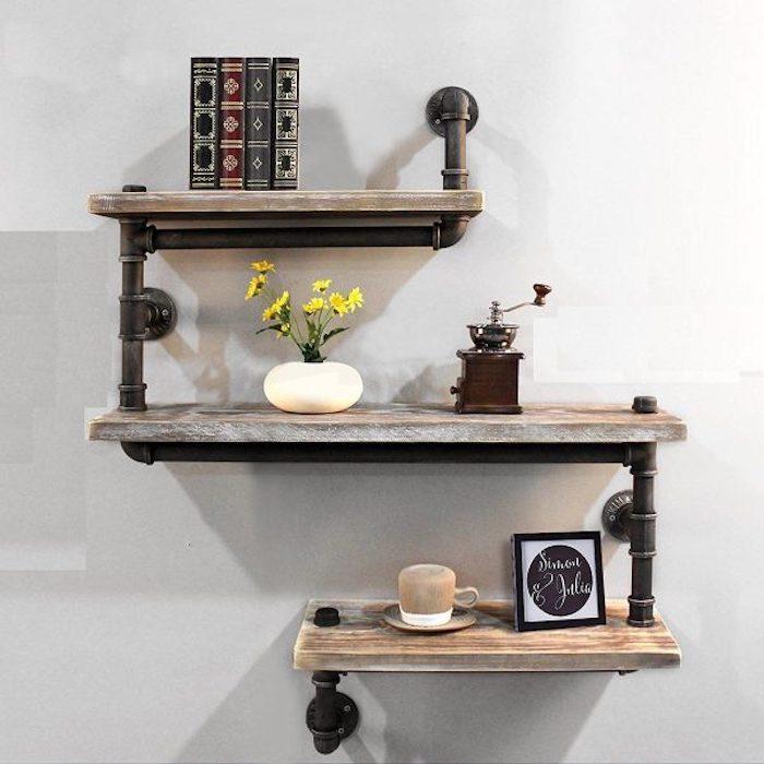 Bois et fer échelles de rangement pour la salle de bain murs peintes salle de bain, ronde ou carré mur salle de bain