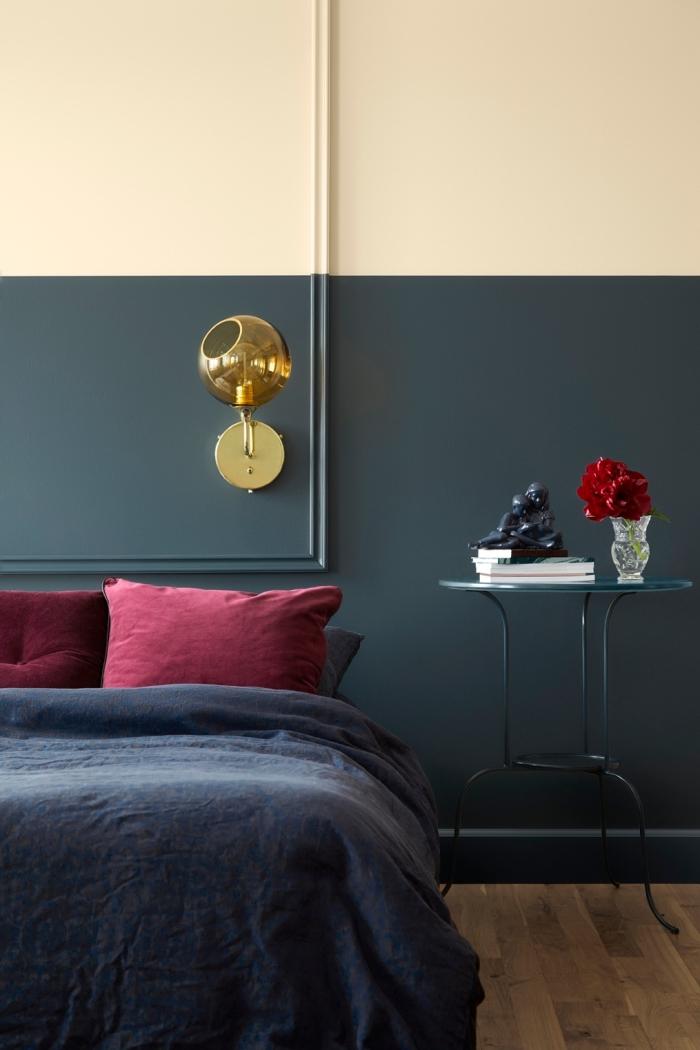 quelle couleur de peinture pour une chambre à coucher adulte, exemple comment fabriquer tete de lit avec peinture murale