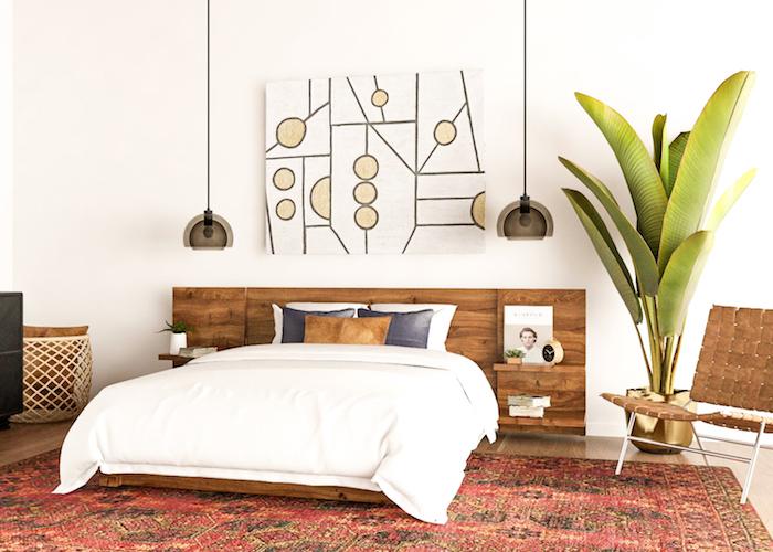 Belle chambre blanc et bois déco, grand palmier banane plante, idée plante verte intérieur, chambre à coucher quelle plante