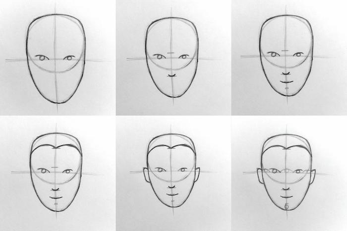 dessin simple de tete d homme à partir d un cercle prolongée en forme d oeuf renversée, dessiner etape par etape