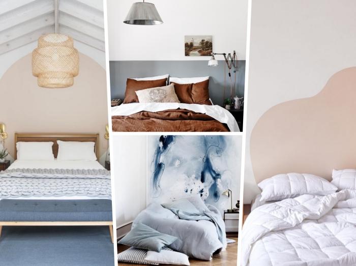 comment tete de lit moderne soi-même avec peinture murale, design chambre minimaliste aux murs blancs avec déco murale en peinture beige
