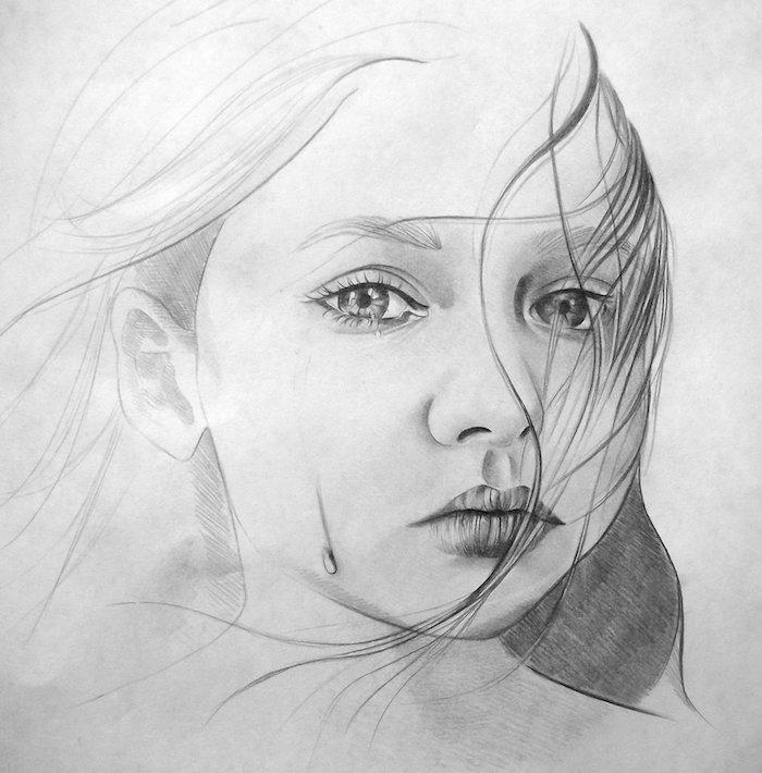 dessin noir et blanc artistique de fille triste en train de pleurer, des yeux amande, petite bouche et nez, dessin triste