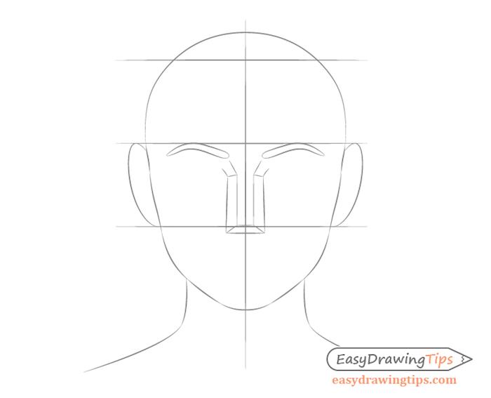 comment dessiner des oreilles des deux cotés de la tete, crayon dessin simple de visage femme a faire soi meme