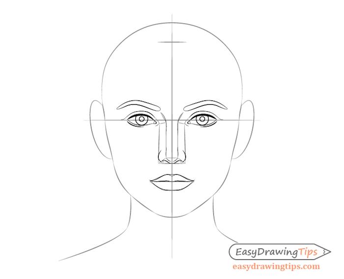 tuto dessin pour dessiner les traits d un visage soi meme, dessin noir et blanc facile et rapide