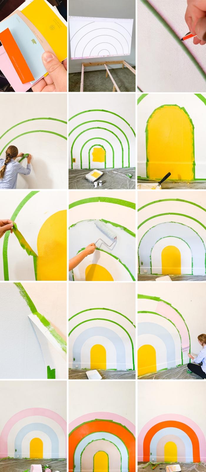 étapes à suivre pour faire une tete de lit peinture facile, idée comment décorer une chambre d'enfant avec peinture arc-en-ciel