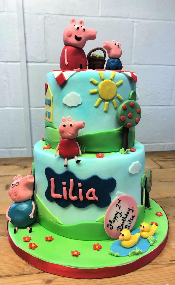 Pique nique famille peppa pig gateau deux etages, dessin peppa pig, gateau anniversaire 2 ans thème cochon