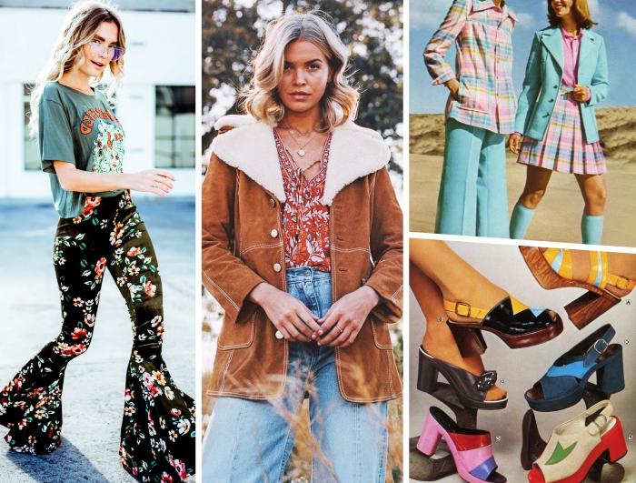 mode année 70 de style hippie, tenue en jeans taille haute et blouse à décolleté tressé aux motifs feuilles avec manteau suède