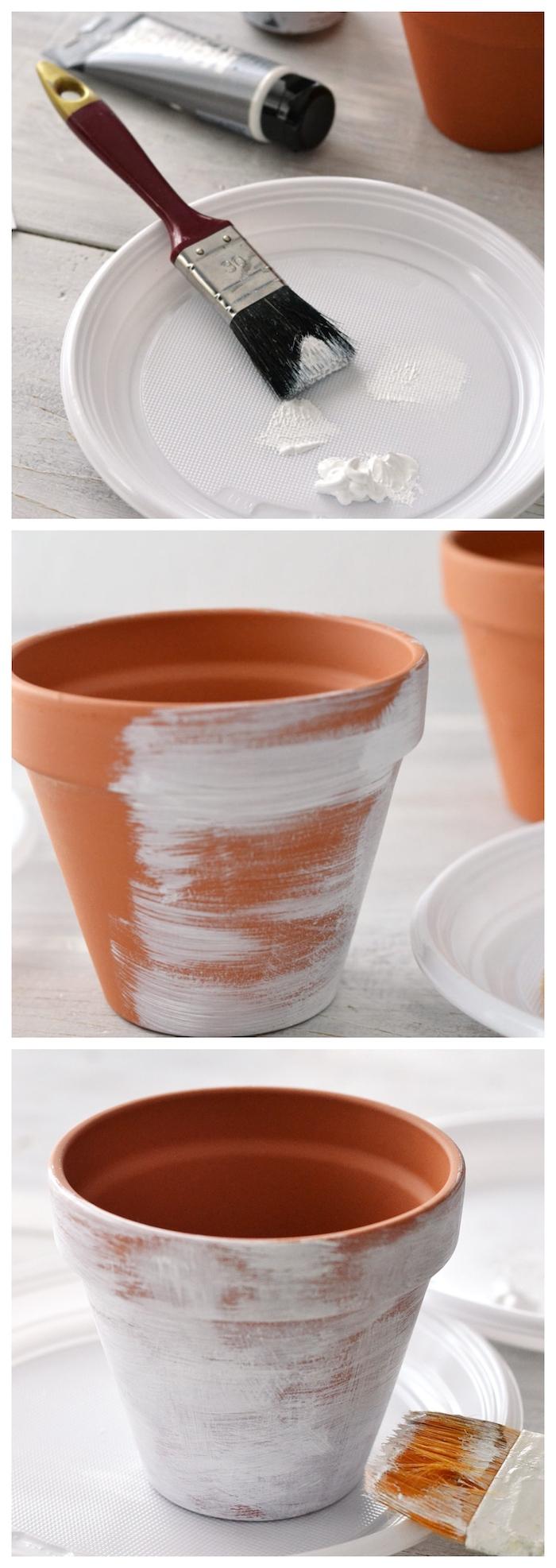 comment vieillir un pot de fleur effet patine blanche sur une surface de terre cuite, idee deco exterieur pas cher