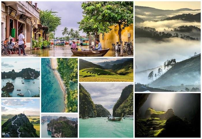 Vietnam idée destination inspiration, vues magnifiques, mer et montagne, riz terraces comme a Bali mais moins comme prix