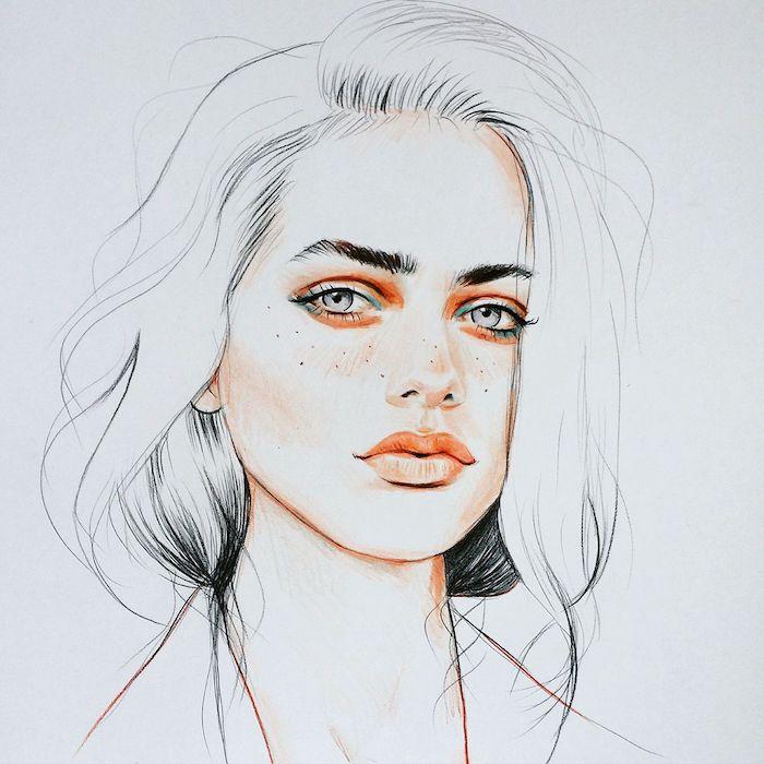 dessin femme fille swag avec visage coloré, des yeux gris, contour bouche, joues, peau, yeux couleur peau orange pâle, cheveux noir et blanc