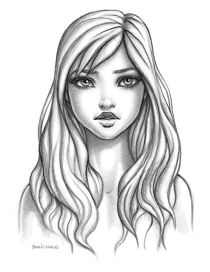 visage fille dessin à reproduire, fille aux cheveux long avec frange de coté, des yeux clairs, petite bouche et nez minimaliste