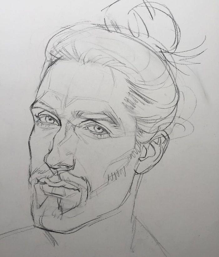 crayon dessin homme esquisse de dessin simple, visage d homme aux cheveux longs attachés en chignon et traits prononcés