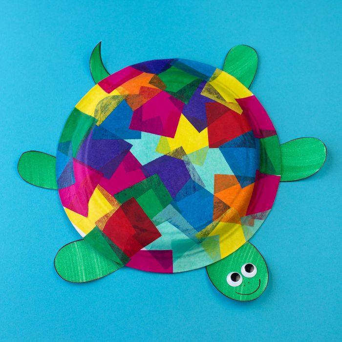 activité manuelle enfant facile avec assiette de papier décoré de bouts de papier de soie coloré, tete et james de papier vert