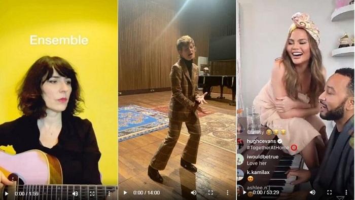 Les chanteurs se donnent rendez-vous sur les réseaux pour proposer des petits concerts en direct #ensembleàlamaison