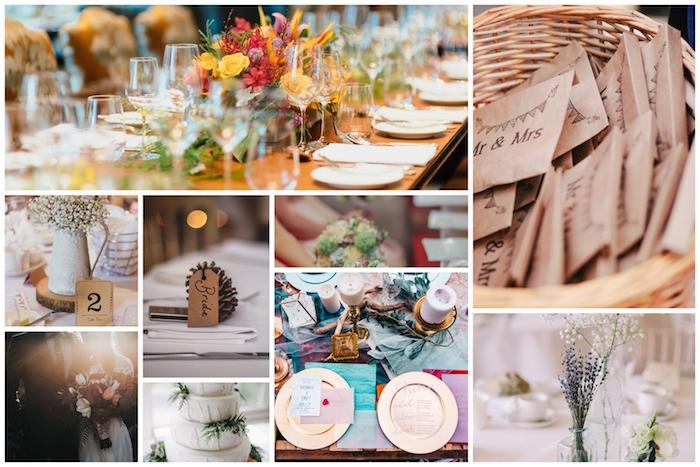 Collage idées décoration mariage champêtre chic, déco élégant au style rustique avec cônes de pin pour marque place original, bougies et fleurs de champs