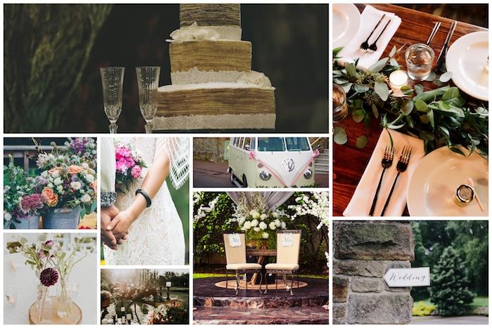 Idée comment décorer la réception pour un mariage boheme chic, mariage en extérieur deco champetre collage