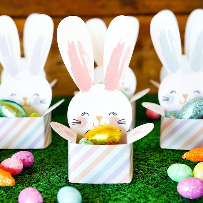 Boîte lapin couleurs pastel idée cadeau de pâques originale idée décoration de paques à fabriquer et offrir