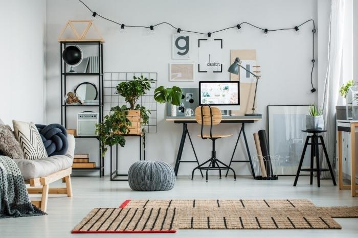 design intérieur de style moderne avec meubles bois et métal, aménagement coin travail avec console bureau en bois
