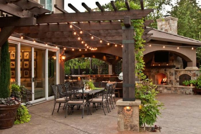 Guirlande lumineuse décoration verande exterieur, amenagement petit jardin, decoration exterieur pour se sentir bien